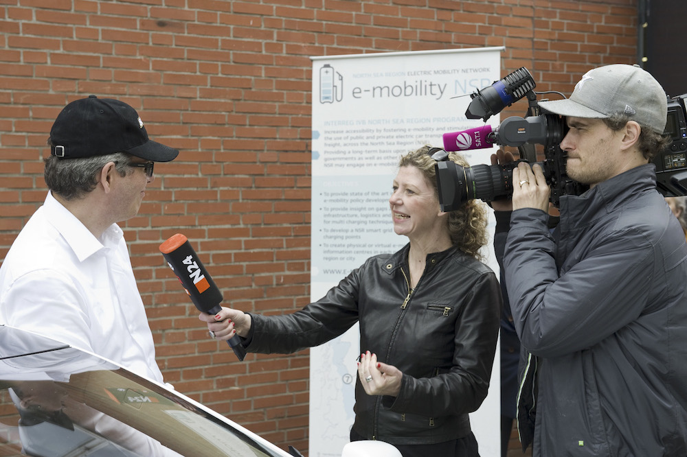 E-mobility NSR 80 hour rally London - Oslo - Participant Frank Manders of 80 Day Race being interviewed 1000